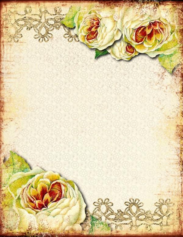 Vieux papier fleuri