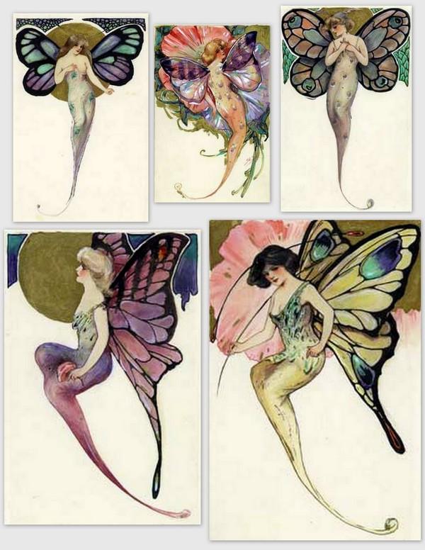 Images anciennes femmes papillons